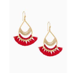 🆕 NIB Stella & Dot Red Roman Chandelier earrings